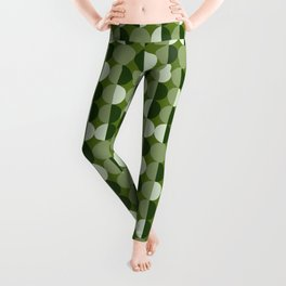 Retro circles grid green Leggings