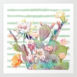 Watercolor cactus, floral and stripes design Art Print