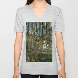 """Camille Pissarro """"The Côte des Bœufs at L'Hermitage"""" Unisex V-Neck"""