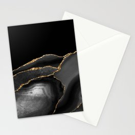 Moody Black Agate with Gold Stationery Cards