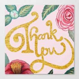 Camellia Thank you card Canvas Print