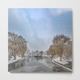 Boston Garden- winter lake Metal Print