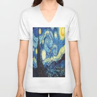 starry night V-neck T-shirts featuring Starry Night by ~~a~~k~~a~~