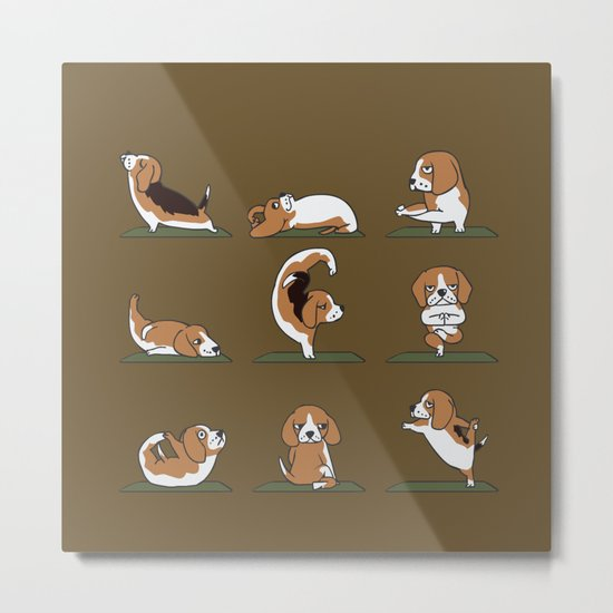 Beagle Yoga Metal Print