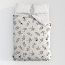 Cosmic Stranger Pattern in Black and White Comforters