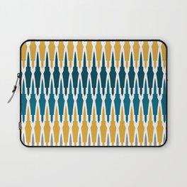 Boho, Geometric Pattern, Blue, Teal, Yellow and Gray Laptop Sleeve