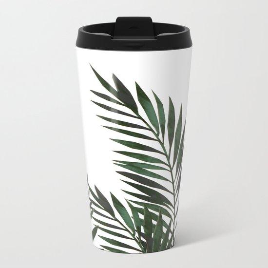 Palm Leaves Green Metal Travel Mug