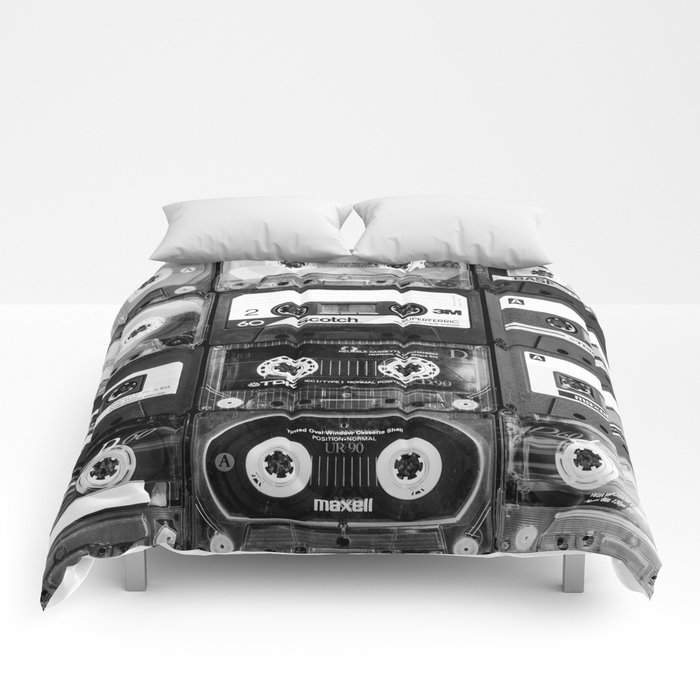 Something Nostalgic - black and white #decor #society6 #buyart Comforters