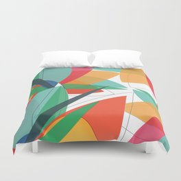Abstract multicolored tropical flower, bird of paradise, superimposed shapes and transparencies Duvet Cover