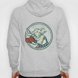 Republican Elephant Boxer Mascot Circle Etching Hoody