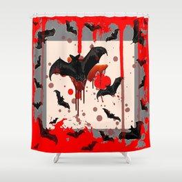 FLYING VAMPIRE BLACK BATS & HALLOWEEN BLOODY ART Shower Curtain