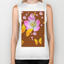 COFFEE BROWN YELLOW BUTTERFLIES & PINK WILD ROSES Biker Tank