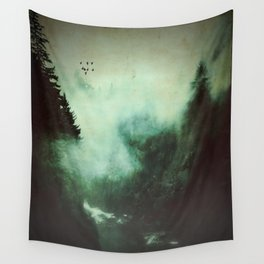 Morning dust on Mountains - Forest Wood Tree Wall Tapestry