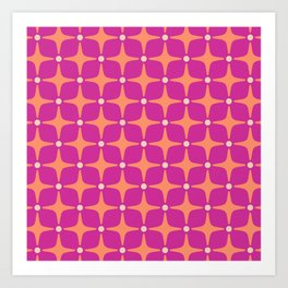 Mid Century Modern Star Pattern 143 Magenta and Orange Art Print