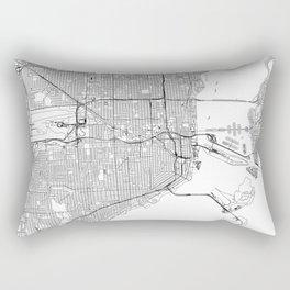 Miami White Map Rectangular Pillow