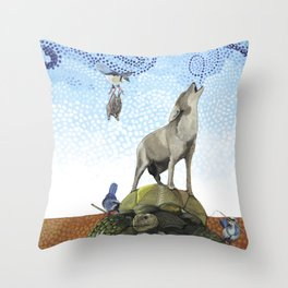 Coyote and Tortoise Magic Throw Pillow