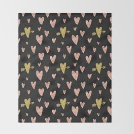 Rose Gold Hearts with Yellow Gold Hearts on Black Throw Blanket