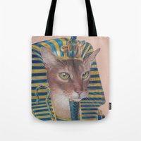 egyptian Tote Bags featuring Egyptian Cat by Rachel Waterman