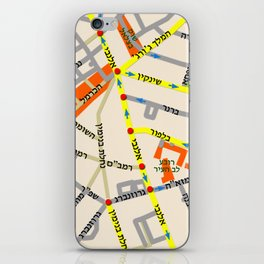 Tel Aviv map - Shenkin Area (Hebrew) iPhone Skin