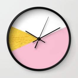 Gold & Pink Geometry Wall Clock