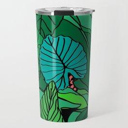 Jungle Leaves Illustrated in Black Travel Mug