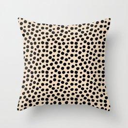 Irregular Small Polka Dots black Throw Pillow