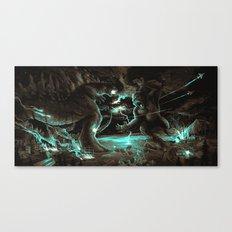Godzilla vs Kingkong Brown Blue  Canvas Print