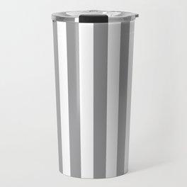 Vertical Stripes Gray & White Travel Mug