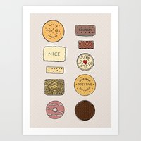 british Art Prints featuring British Biscuits by LuvMoo