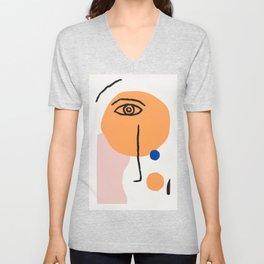 Feminist Line Drawing – Face Illustration | Blue and Nude | Modern Wall Art | Leaf Print | Feminist Unisex V-Neck
