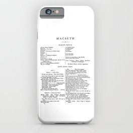 Macbeth William Shakespeare First Page iPhone Case