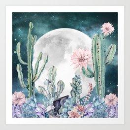 Desert Nights Gemstone Oasis Moon Art Print