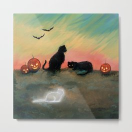 Ghost Cat Halloween Fantasy Art by Molly Harrison Metal Print