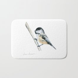"""Chicka-dee-dee-dee"" a painting of a Chickadee by Teresa Thompson Bath Mat"