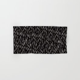 Dark Winter Night- White Strokes Lines on Black - Mix & Match with Simplicity of life Hand & Bath Towel