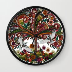 tree of life white Wall Clock