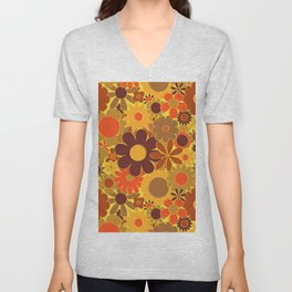 Funky Daisy Floral in Electric Orange Unisex V-Neck