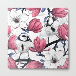 Pink magnolia and blue tit birds   Metal Print