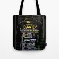 prometheus Tote Bags featuring David8 - Prometheus by Chubbybuddhist