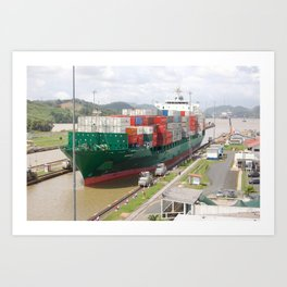 A cargo ship crossing the Miraflores locks at the Panama Canal Art Print