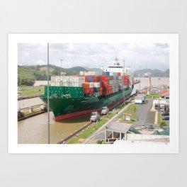 A cargo ship crossing the Miraflores locks at the Panama Canal Art Print