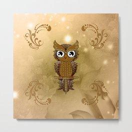Wonderful golden steampunk owl Metal Print
