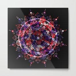 Black Cosmic Mandala Metal Print