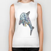 dolphin Biker Tanks featuring Dolphin by PepperDsArt