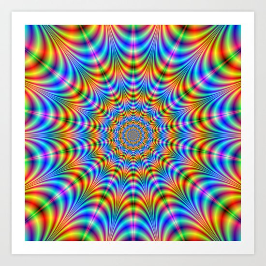 Orange and Blue Psychedelic Rings Art Print