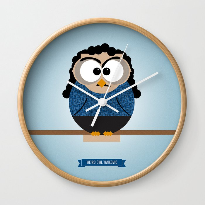 Weird Owl Yankovic Wall Clock By Famousowls Society6