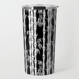 Bamboo Forest Pattern - Black White Grey Travel Mug