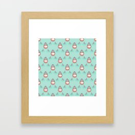 Shark Heads & Fins in Grey on Aqua w/ Ripples Framed Art Print