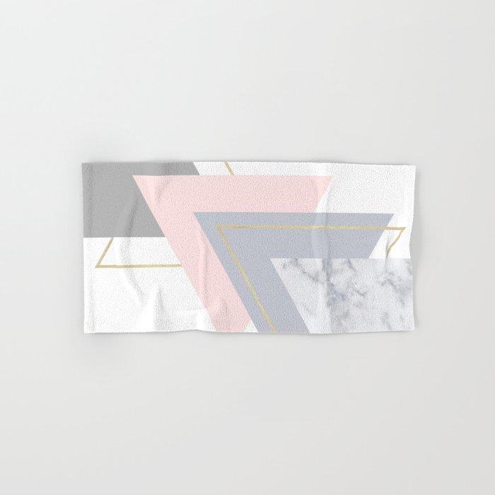 Blush Marble Gray Gold Geometric Pattern Hand & Bath Towel