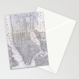 Vintage Map of New York City (1855) Stationery Cards